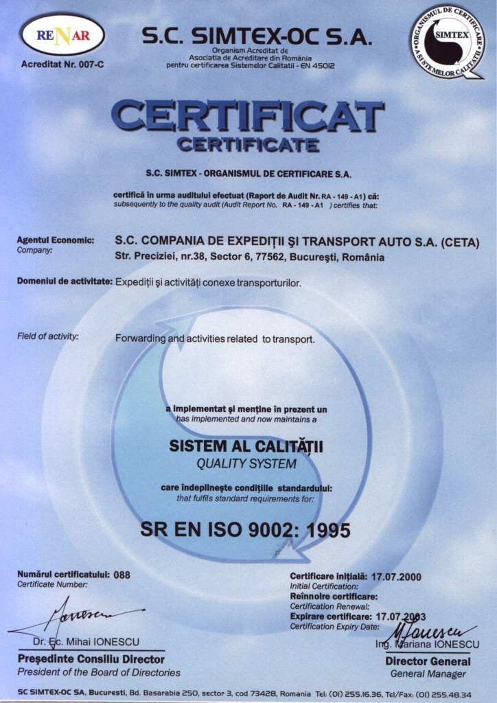 4 certificat sistem calitate